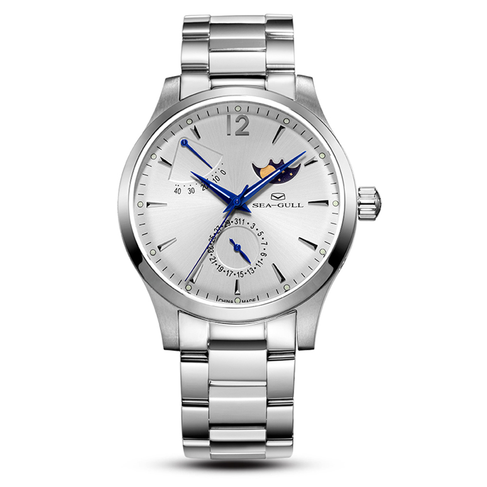 Genuine <font><b>Seagull</b></font> watch 816.423 Mechanical men's Watch auto date to moon Self Wind Automatic Men's Watch <font><b>ST2130</b></font> Movement image