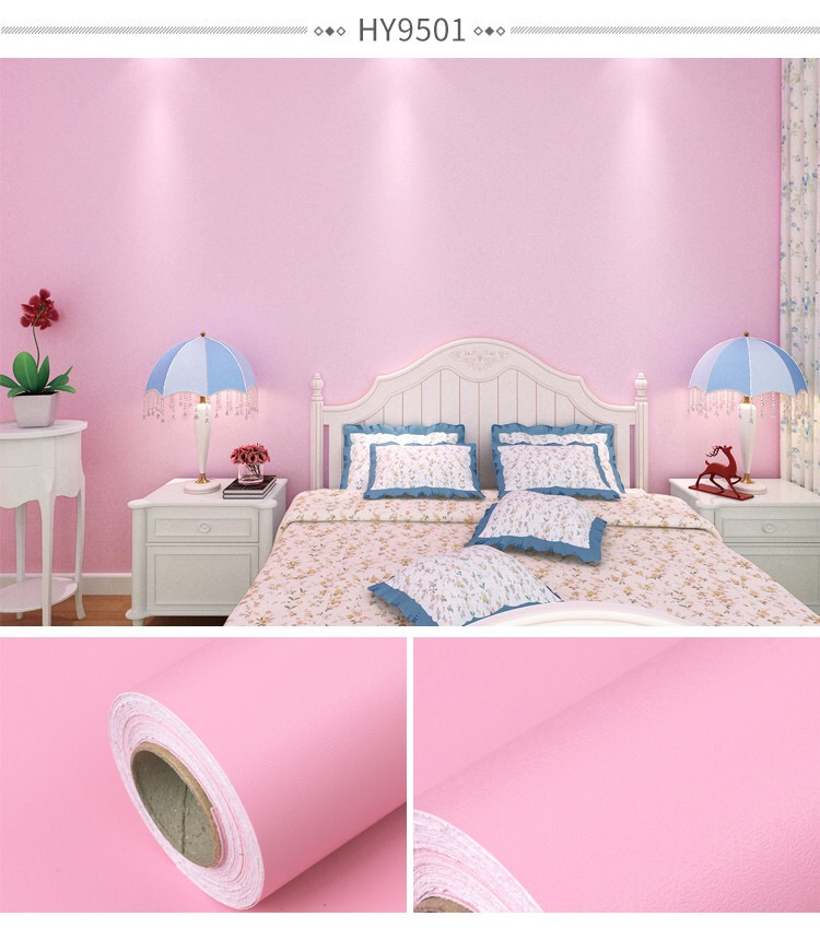 Pink Color Children Room Wall Paper Self-adhesive Wallpaper For Kids Room  Bedroom in Small Roll Size 0.45*10m