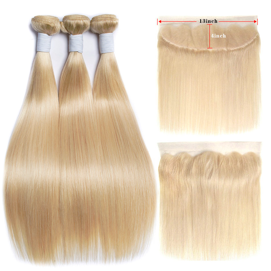ALIBELE 613 Blonde Bundles With Frontal Brazilian Straight Hair With Frontal Remy Human Hair Lace Frontal