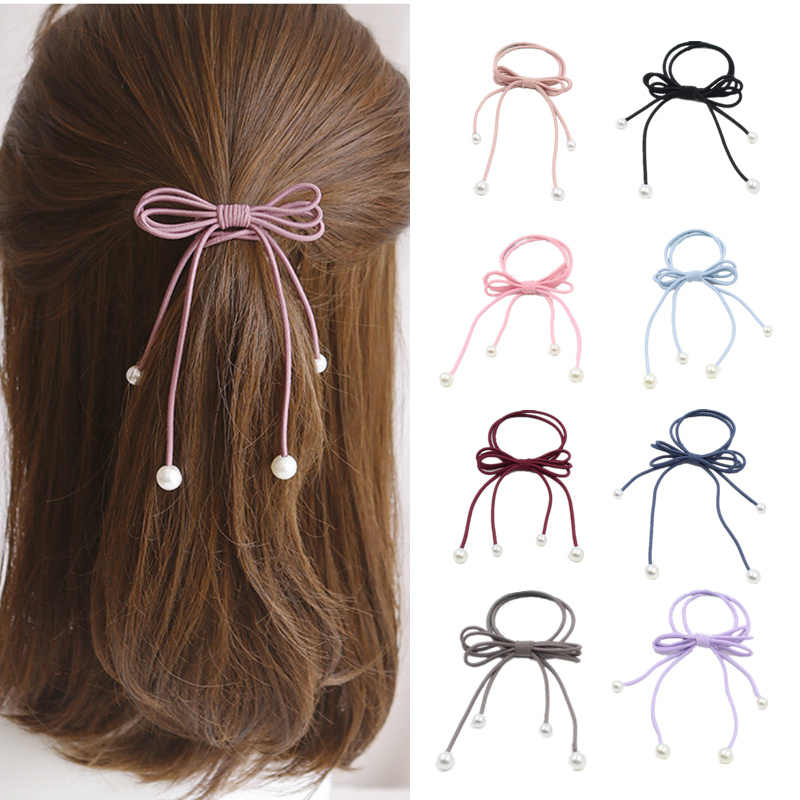 Women Lady Elegant Bow Ribbon Elastic Hair Band Rope Scrunchie Ponytail Gum Hair Accessories Girl Pearl Headwear Rubber Band