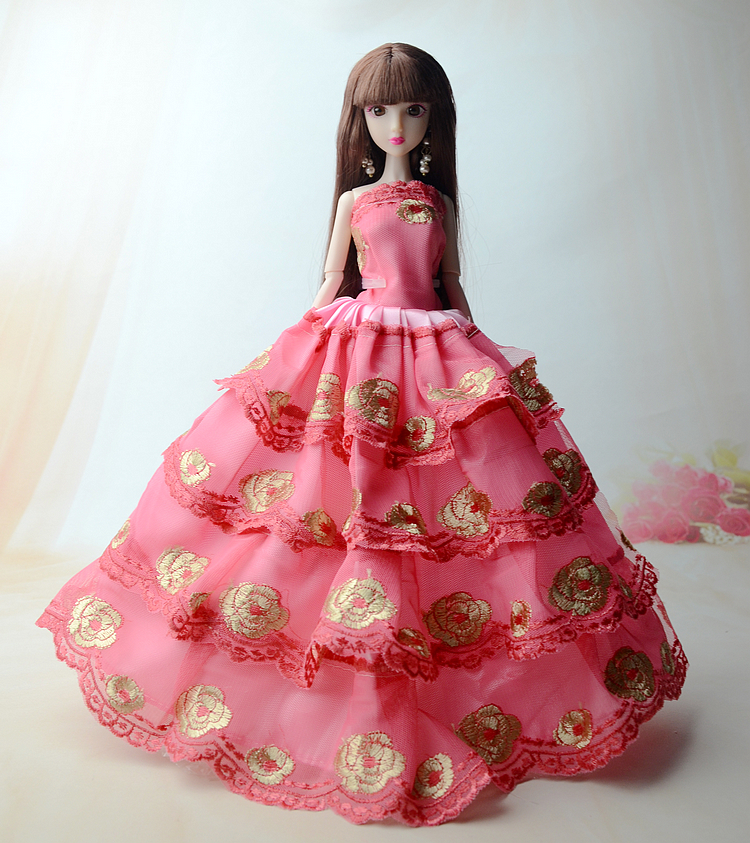 NK One Pcs Princess Crimson  Gown Vogue Lace Design wedding ceremony garments for Barbie Doll finest gist
