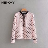 MENKAY European And American Style 2018 Spring New Fashion Wild Round Neck Long Sleeved Bow