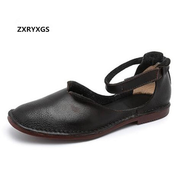ZXRYXGS 100% Natural Full Cowhide Leather Sandals Women Shoes Flat Casual Sandals 2019 Soft Comfort Summer Shoes Woman Sandals