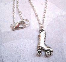 50pcs Tibetan silver *Cute Roller Skate* Ditsy Charm Necklace SP chain  XA18