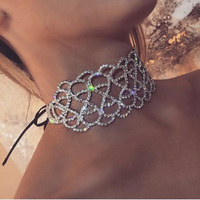 Collier Femme Vintage Statement Choker Necklace Leather Rope Chain Crystal Flower Necklaces Maxi Necklace Women Collares