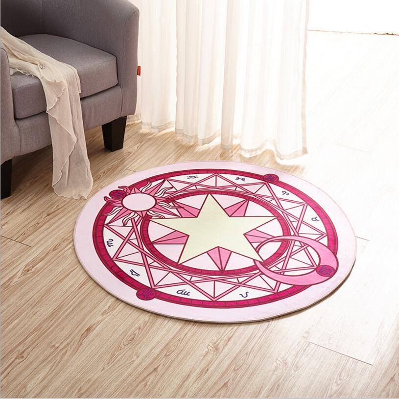 Kids Bedroom Carpet Cartoon Pink Sakura Magic Circle Children Round ...