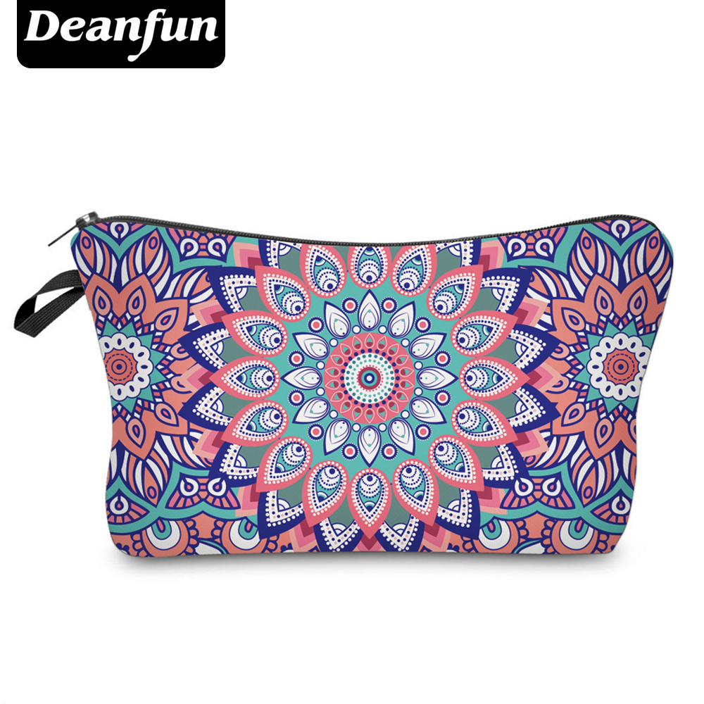 Deanfun 3D Printed Cosmetic Bags Colorful Flower Vintage For Women Travel Makeup Storage Necessity 51012