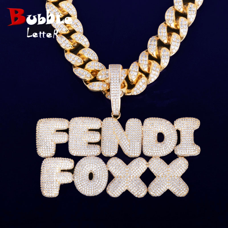With 20MM Cuban Chain Custom Name Bubble Letters Chain Pendants Necklaces Men's Zircon Hip Hop Jewelry For Gift-in Chain Necklaces from Jewelry & Accessories