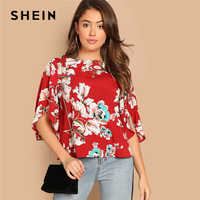 SHEIN Red Bohemian Butterfly Half Sleeve Floral Print Round Neck Blouse Women 2019 Summer Beach Vacation Casual Top Blouses