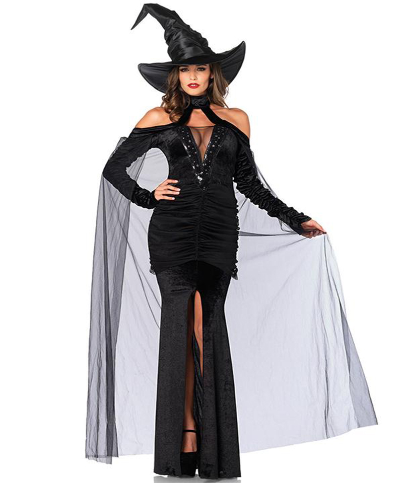 High Quality Adult Witch Halloween Cosplay Dress Black Gothic Off the Shoulder Split Long Dress Sexy Sorceress Costume A542852