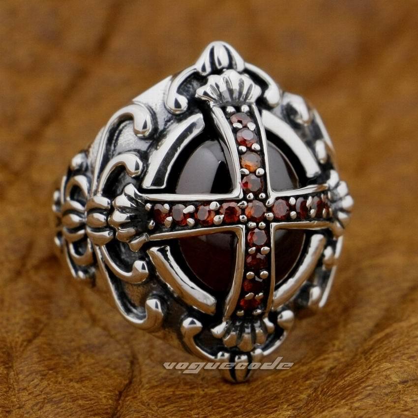 Goth Big Red CZ Cross 925 Sterling Silver Gothic Punk Rock Pánský prsten 9D005