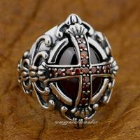Goth Big Red CZ Cross 925 Sterling Silver Gothic Punk Rock Mens Ring 9D005