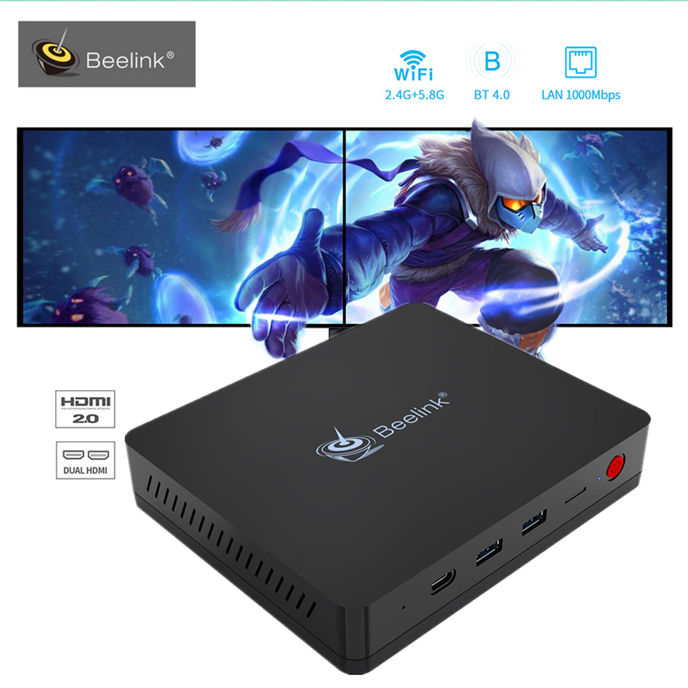 Beelink S II Intel Gemini Lake Mini PC Windows10 4GB RAM DDR4 64GB ROM Set Top TV Box 5G Wifi Bluetooth4.0 1000M Media Player beelink s2 mini pc intel gemini lake n4100 tv box support windows 10 4gb 64gb 1000m with mic cortana extended hdd ssd pk z83 ii