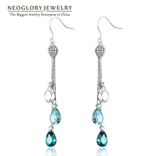 Neoglory Blue Austrian Crystal Rhinestone Long Tassel Boho Chandelier Dangle Drop Earrings for Women Bridal Jewelry 2016 JS9 B1