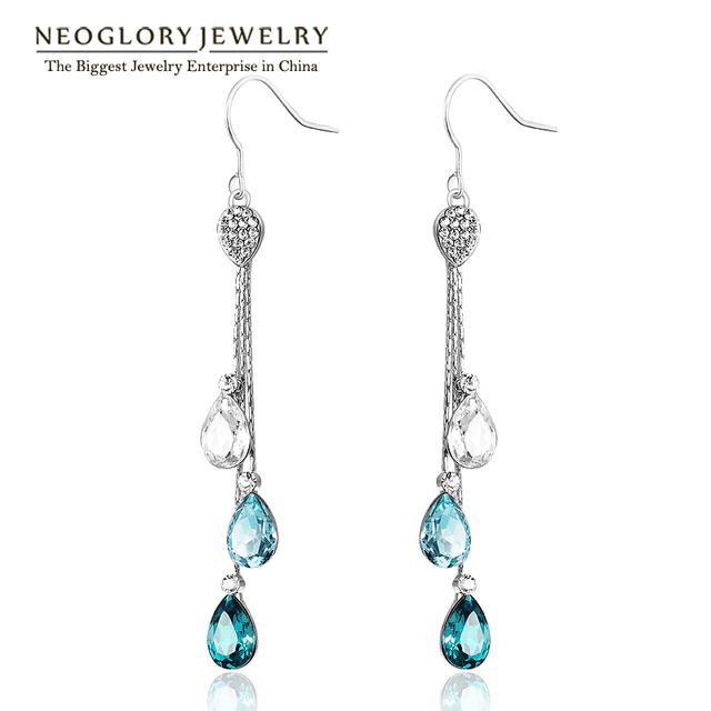 Neoglory Blue Austrian Crystal Rhinestone Long Tassel Boho Chandelier Dangle Drop Earrings for Women Bridal Jewelry 2017 JS9 B1