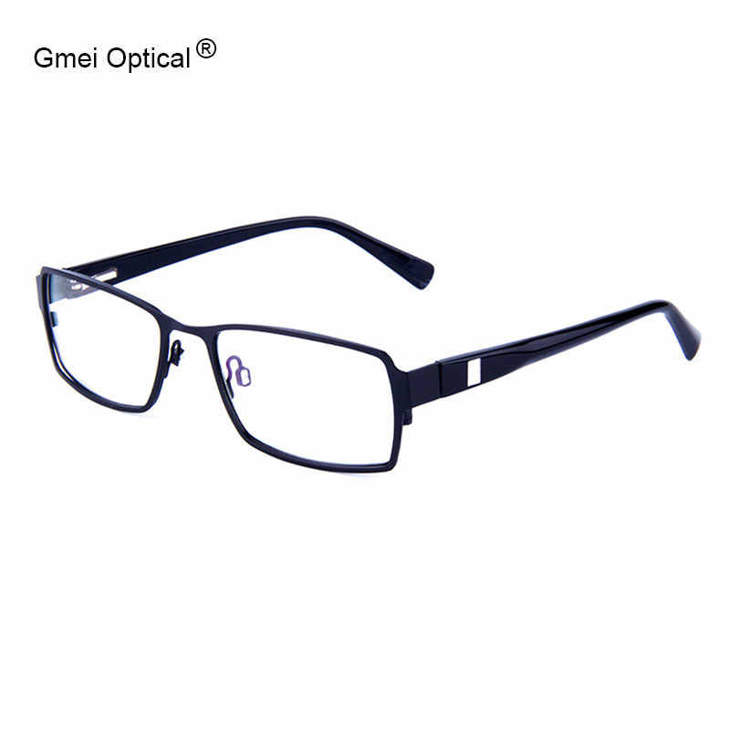 Classical Concise Black Metal Alloy Rectangular Full-Rim Men's Eyeglasses Frames With Spring Hinges Design Women's Glasses Frame