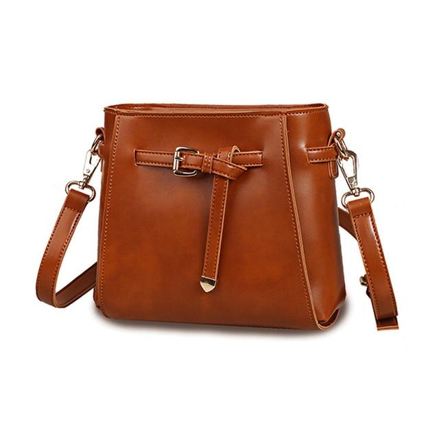Women Messenger Bag Brand Designer Small Bucket Bags Mini Casual Crossbody Retro Brown Patent Leather