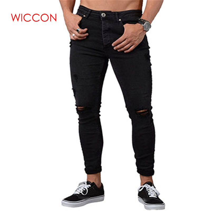 2019 Men Skinny   Jeans   Spring Vintage Slim Denim Pencil Pants Casual Stretch Trousers Sexy Hole Ripped Male Zipper   Jeans