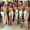 Sparkly Bridesmaid Dress Gold With 5 Styles Sexy Sweetheart Neckline Side Slit Mermaid Court Train Sequin Bridesmaid Dress