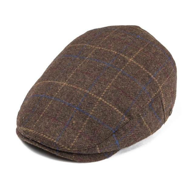 3c2fc8e8eb3 VOBOOM Woollen Tweed Men Flat Cap Large Check Retro Vintage Newsboy Caps  Fall Winter Warm Ivy Hat Cabbie Driver Father Boina 185