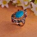 Старинные бирюзовые кольца для женщин ну вечеринку античная позолоченные зеленой эмалью кольцо европейский большой размер 10 анель 2016 новое поступление бижутерии