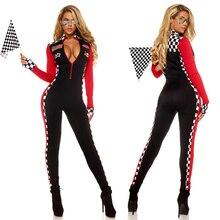 Femmes Sexy course voiture pilote Costume course fille combinaison voiture jeu manches longues uniforme