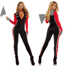 1664ac84f4 Women Sexy Race Car Driver Costume Racing Girl Jumpsuit Car Game Long  Sleeves Uniform