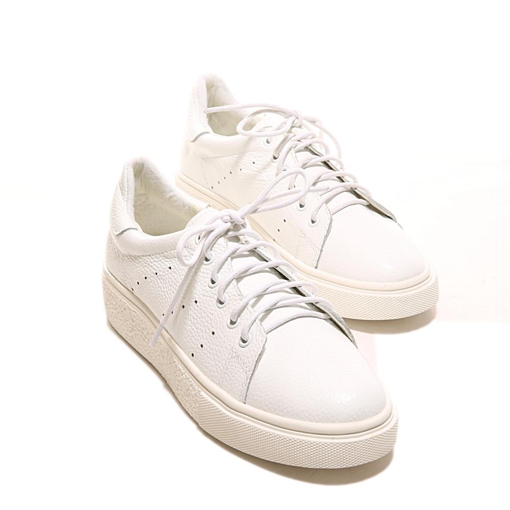 Up Plat Femmes En White Confortable Asumer Casual Cuir Appartements Avec Printemps Ronde Véritable Mode Chaussures Lace Automne Blanc Femme Toe 77cg16zH