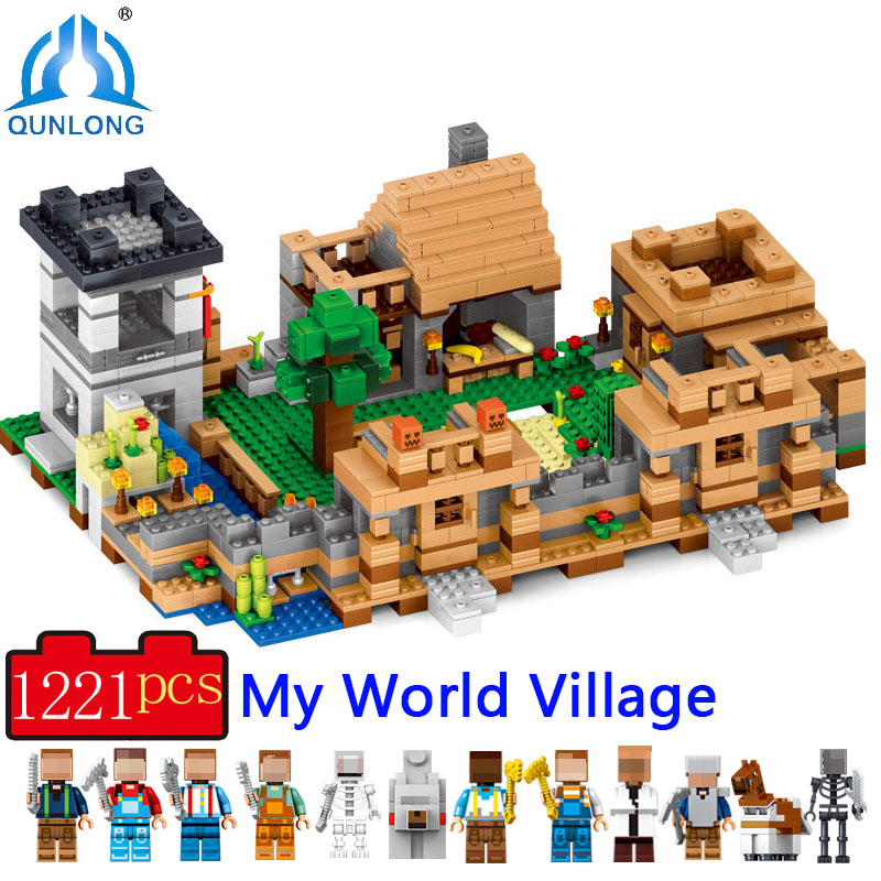 1221Pcs 4 in 1 Compatible Legoe Minecrafted City Blocks Village Building Blocks Set Educational Toys For Children Boy Girl Gift 584pcsvillage building blocks compatible lepin boy girl toys compatible legoe minecraft city bricks diy for children friends gif