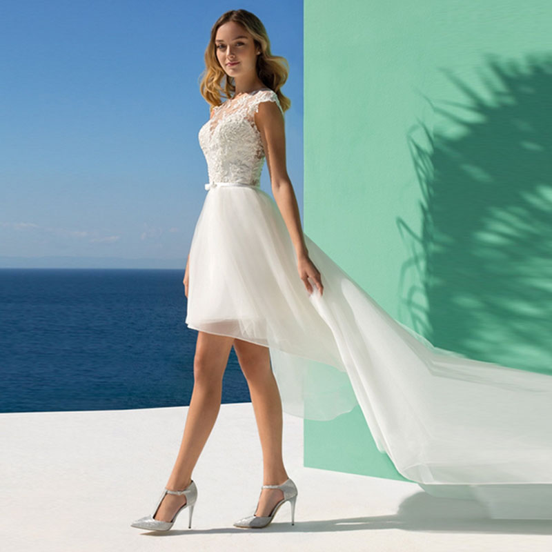 Simple Low Key Wedding Dresses: Eightale High Low Wedding Dress Boat Neck Appliques Boho