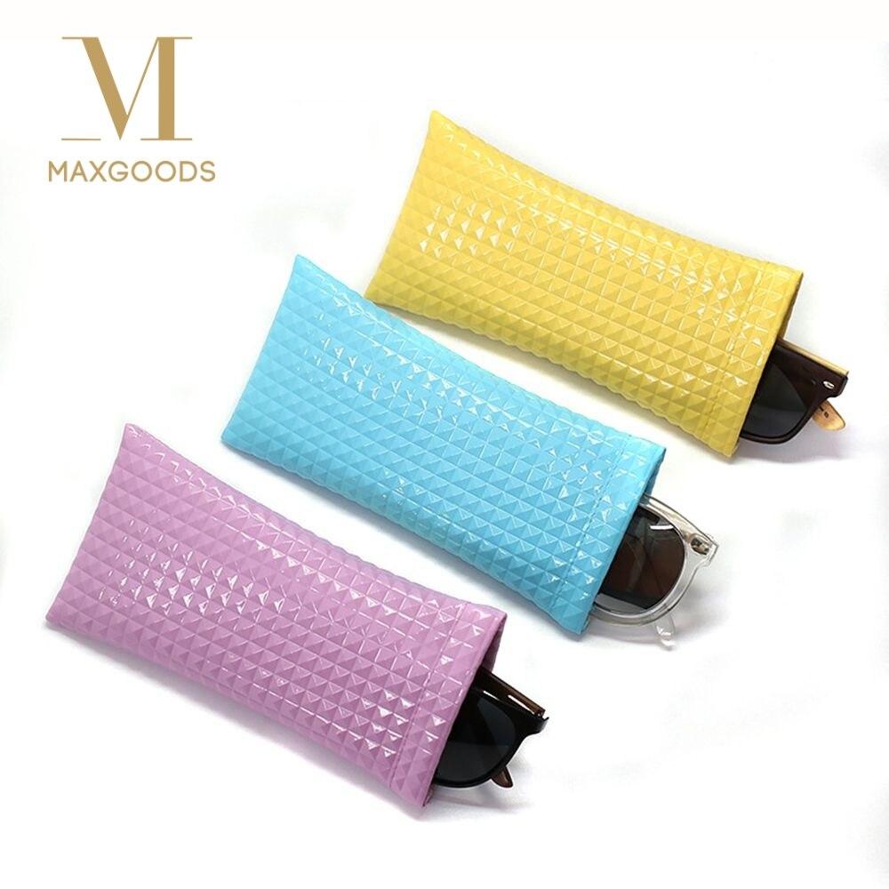 1 Stück Rosa/blau/gelb Pu Leder Einfache Brillen Beutel Fällen Frauen Männer Mode Koreanische Stil Scratch- Beweis Sonnenbrille Tasche Protector Attraktive Designs;