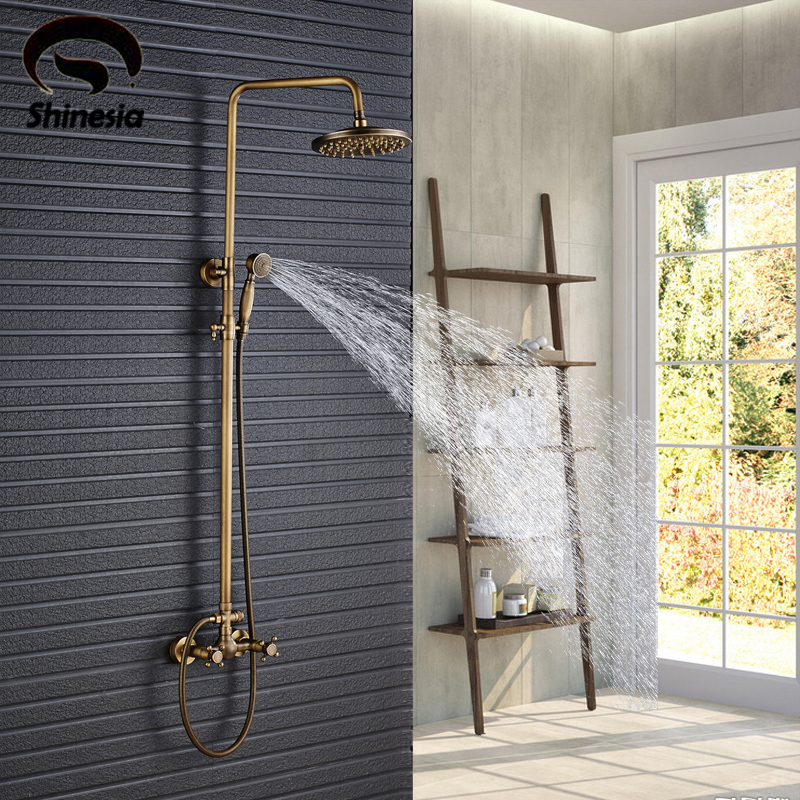 Antique Brass Shower Set Faucet 8 Rainfall Shower Head Solid Brass Mixer Tap Wall Mounted