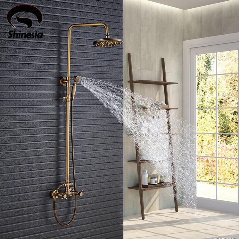 Antique Brass Shower Set Faucet 8 Rainfall Shower Head Solid Brass Mixer Tap Wall Mounted wall mounted brass
