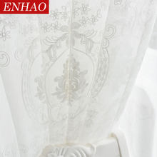 ENHAO Embroidered Tulle Curtains for Living Room Bedroom Kitchen White Floral Voile Sheer Curtains for Window Linen Curtains(China)