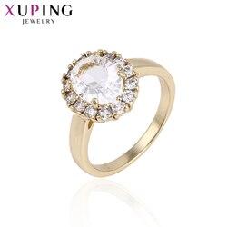 Xuping Fashion elegancki pierścionek światło żółte kolorowy platerowany biżuteria dla kobiet ślub świąteczna biżuteria upominkowa 14242