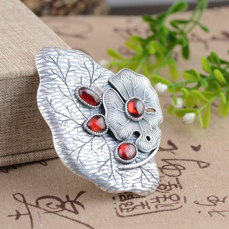 все цены на Red corundum pendant, S925 silver mosaic process, female models sweater chain pendant