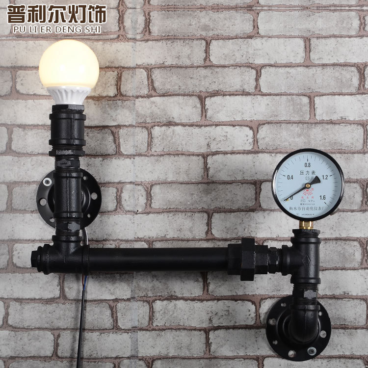 loft style american industrial retro iron water pipe restaurant wall light hotel decoration light study lamp free shipping in wall lamps from lights