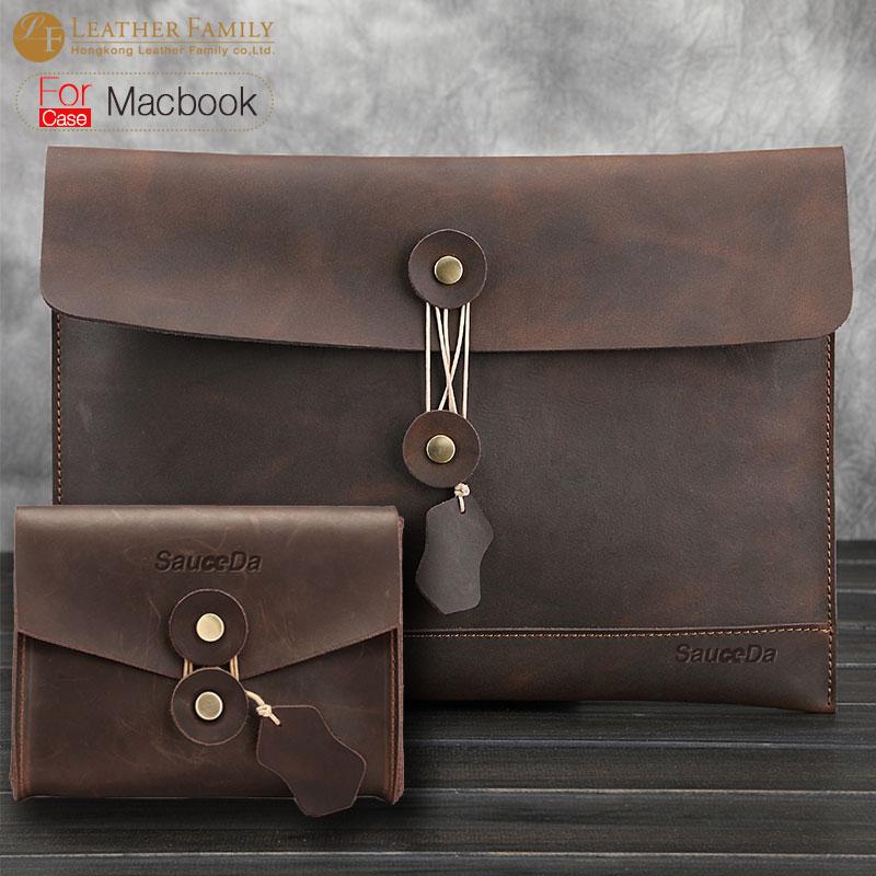 For Macbook Pro 15 Case Retro Genuine Leather Bag For Macbook Air 11 6 12 13