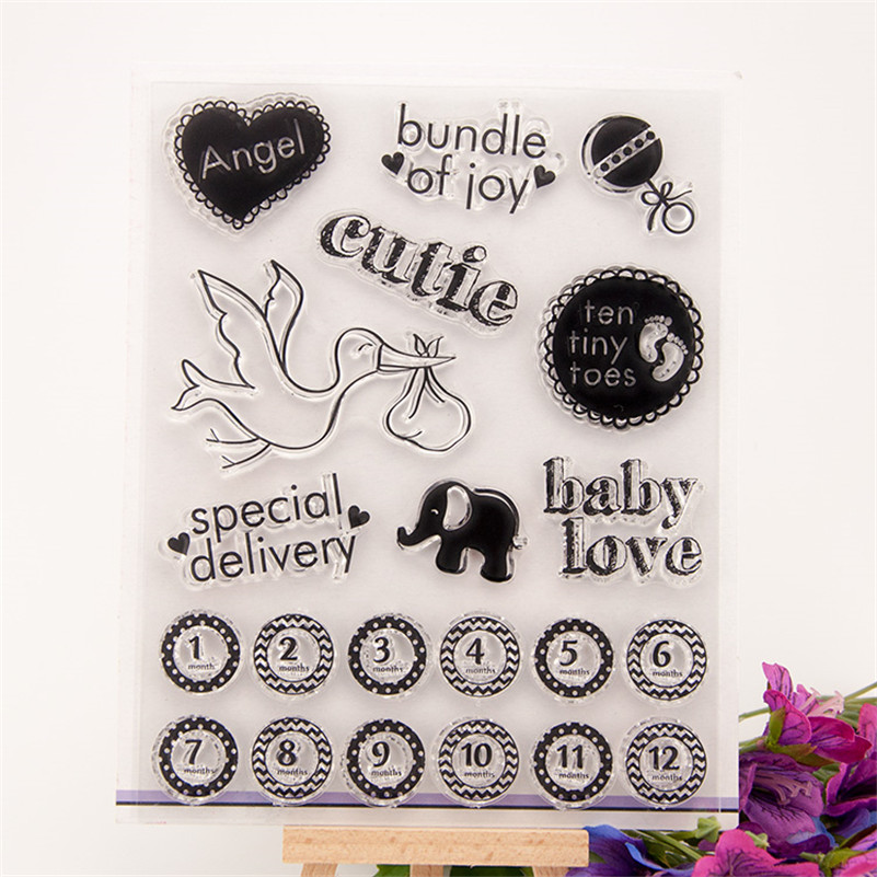 angel and baby love DIY Calendar Transparent Clear Rubber Stamp Seal Paper Craft Scrapbooking Decor paper card RM-177 lovely bear and star design clear transparent stamp rubber stamp for diy scrapbooking paper card photo album decor rm 037