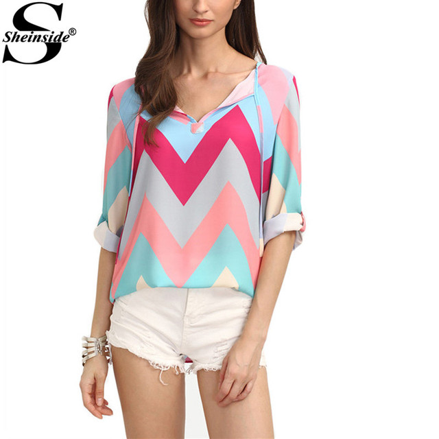 78337f95d3ca28 Sheinside 2016 Summer Women Tops Colored Zig-zag Print Rolled-up Long Sleeve  V