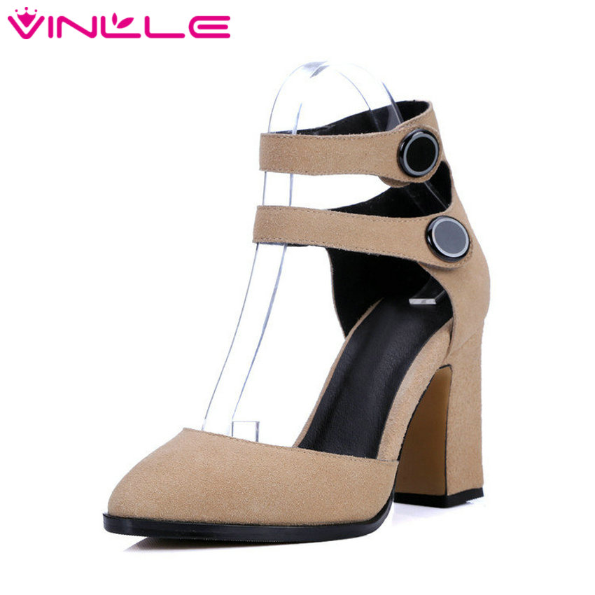 VINLLE 2017 Women Pumps Ankle Strap High Heel Square Heel Pointed Toe Shoes Woman Wedding Shoes Genuine Leather Pumps Size 34-39
