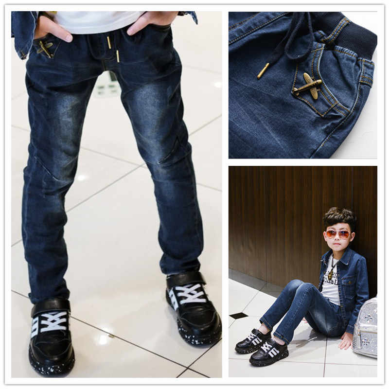 6f4480bbf Boys Pants 2019 Autumn Kids Jeans Elastic Waist Stretch Denim Clothes  Children Trousers For 3 to