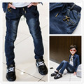 Hot Sale! 2016 Autumn New Kids Jeans Elastic Waist Stretch Denim Pants Retail Boy Jeans For 3-14 Years Children Pencil Trousers