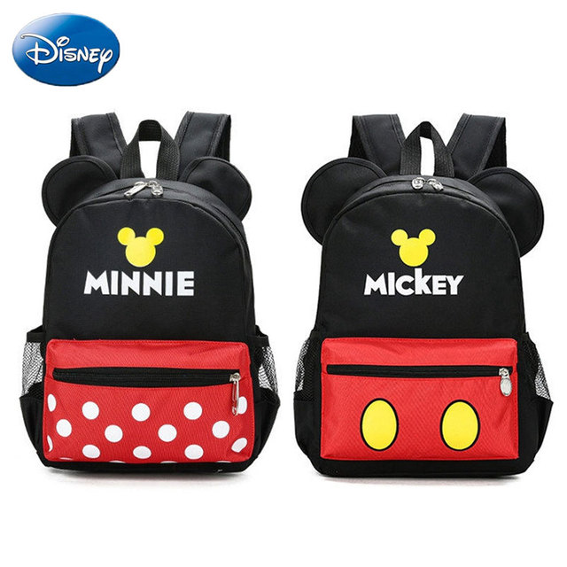 2c5bc096cea Disney Backpack for Kids 3-8 Years Cute Cartoon Red Mickey Minnie Mouse  Ears Boys Girls Plush Shoulder Bag Children s School Bag