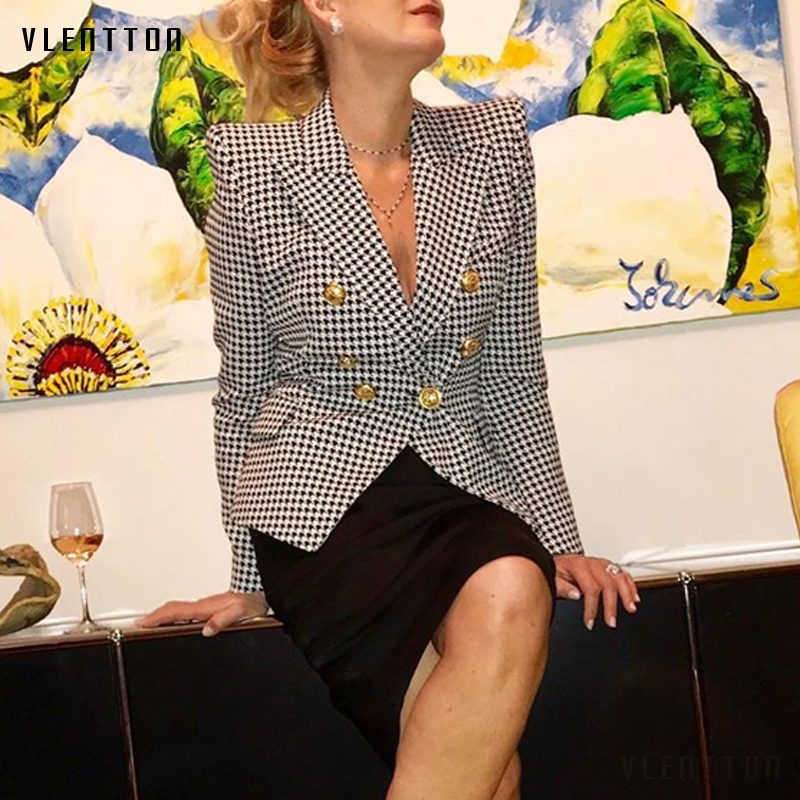 2019 Spring Autumn Plaid Women's Blazer Double Breasted Long Sleeve Slim Office Blazer Woman Houndstooth Blazer Jacket Female