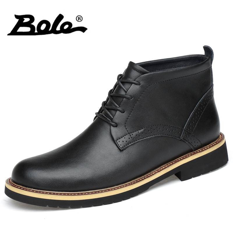 BOLE Brand High Top Men Causal Shoes Autumn New Design Lace Up Men Leather Shoes Winter Keep Warm Flats Men Shoes Big Size 38-48