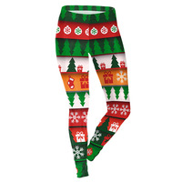Fashion Christmas Tree 3D Print Green Leggings Girl Christmas Party Workout Adventure Time Leggings Women Fitness