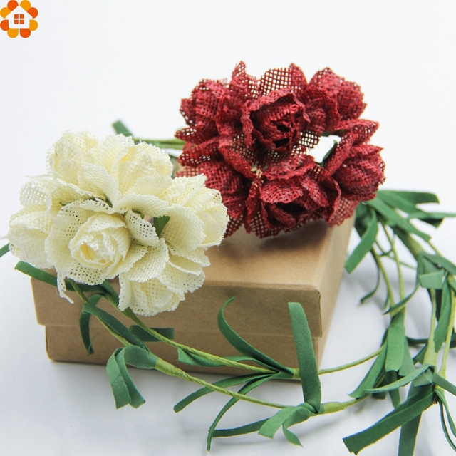 Aliexpress.com : Buy 30pcs Jute Burlap Artificial Flowers Bouquet ...