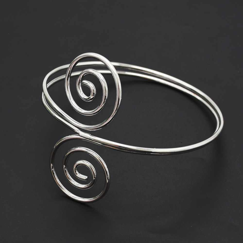 Панк цвета: золотистый, серебристый Цвет спираль Предплечье Браслет-манжета и браслет для Для женщин Для мужчин хип-хоп Регулируемый Браслет повязку ювелирные изделия