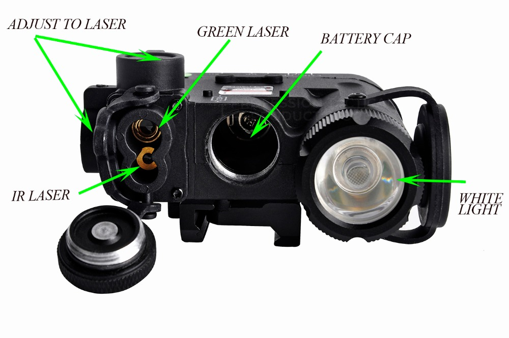 Elemento airsoft luz tática DBAL-D2 verde ir